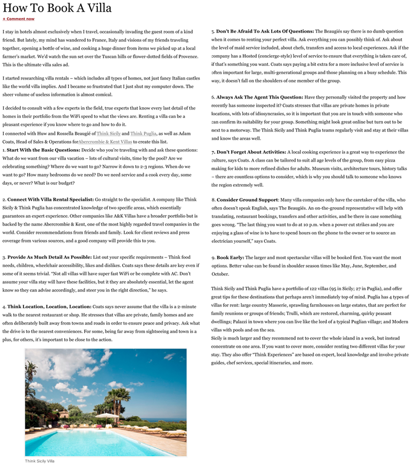 Forbes: How to Book a Villa, August 2012 | Think Sicily