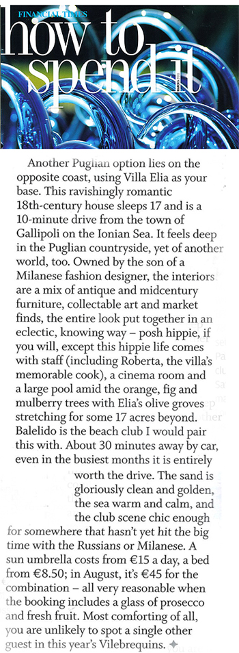 Villa Elia in How to Spend It, March 2011 | Think Puglia