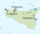 Map of Sicily showing Milazzo | Think Sicily