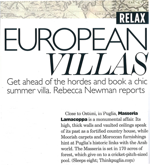 Masseria Lamacoppa in Vogue, April 2011 | Think Puglia