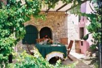 The outside shaded dining area with oven wood-fired oven -great for those pizza evenings!