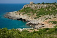 A rocky stretch of coastline in southeastern Puglia.