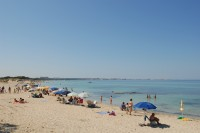 The sandy beach on the coast near Santa Caterina, north of Gallipoli.