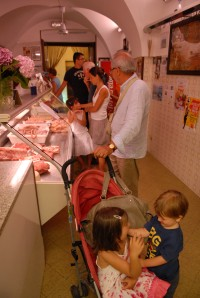 Shopping for meat in Cisternino!