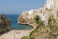 The beach at Polignano on the coast north of Trullo Selva.