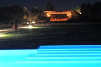 The pool and the pergola at night.