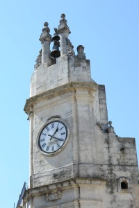 The clock tower in the town square.