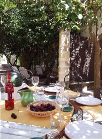 Al fresco dining in the shade of the garden.