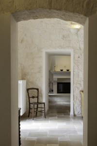 View from the living room into the kitchen in Trullo Pietra.