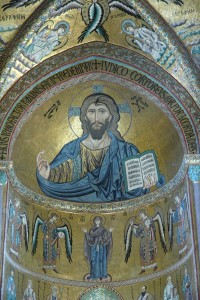 The magnificent Christ Pantocrator in the Duomo of Cefalù.