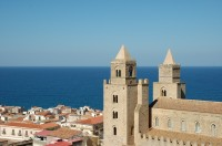 A view over the Duomo and town of Cefalù.