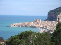 Cefalù seen from the hills behind.