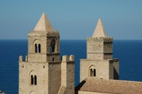 The twin towers of the Duomo of Cefalù.