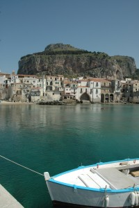 The Rocca of Cefalù seen from the port.