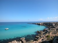 The beautiful waters of Cala Rossa on Favignana.
