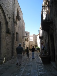 Strolling through the streets of Erice in August.