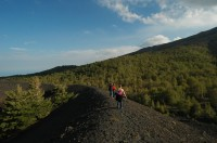 Walking on the northern flanks of Mount Etna.