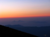 An amazing view of the Aeolian Islands from Mount Etna at sunset.