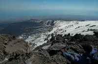 Looking out over the Valle del Bova on Mount Etna.