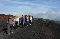The Thinking Traveller team taking a stroll on Moungt Etna!