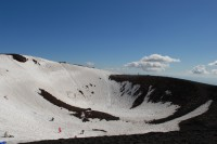 One of the craters covered with snow in winter.