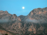 The moon rising over the Madonie Mountains.
