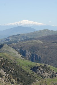 Mount Etna rising in the east, seen from the Madonie Mountains.