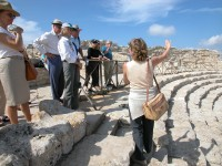 Our guide explaining the theatre at Segesta.