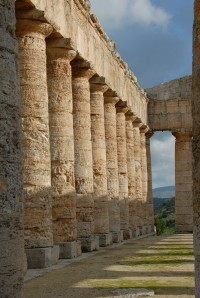 A perfect row of columns at the Temple of Segesta.