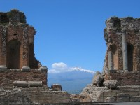 65/66 The fantastic view of Mount Etna seen from the Teatro Greco in Taormina.