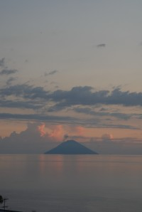 Sundown on Salina with views of Stromboli.