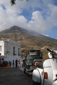 The dramatic smoking peak of the volcano on Stromboli.