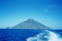 Stromboli seen from the water.