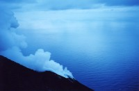 A smoking crater on Stromboli at dawn.