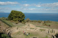 The Greek theatre of Tindari with the Aeolian Islands behind.