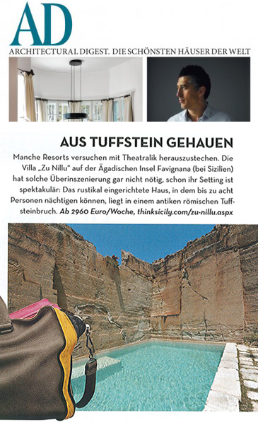 Zu Nillu in Architectural Digest Germany, March 2012  | Think Sicily