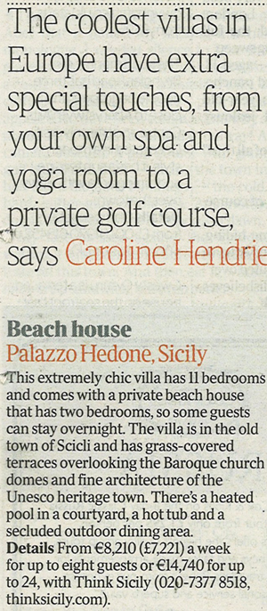 Palazzo Hedoné in The Times, 2nd April 2011 | Think Sicily