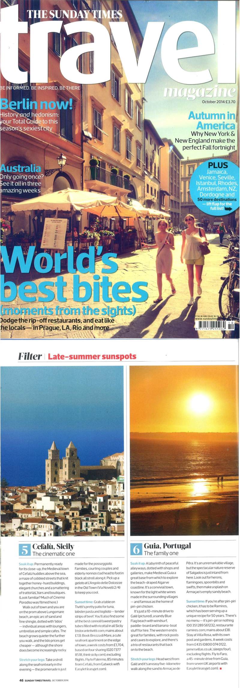 Sunday Times Travel Magazine, October 2014