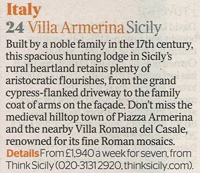 Villa Armerina in The Times, 4th February 2012 | Think Sicily